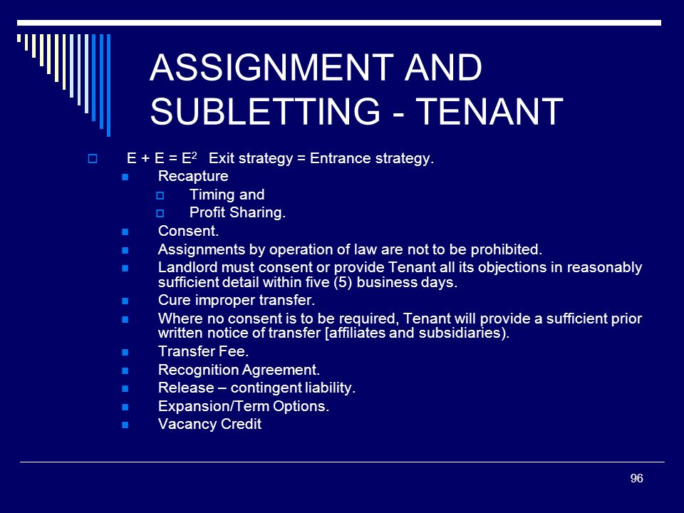 ASSIGNMENT AND SUBLETTING - TENANT