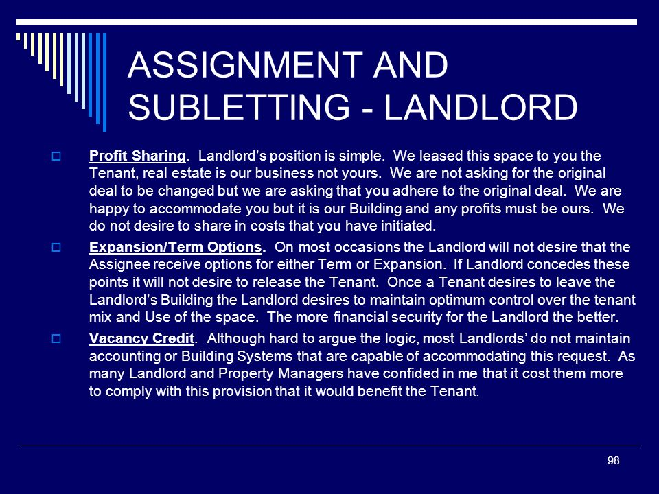 ASSIGNMENT AND SUBLETTING - LANDLORD