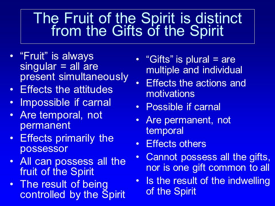 The Fruit of the Spirit is distinct from the Gifts of the Spirit