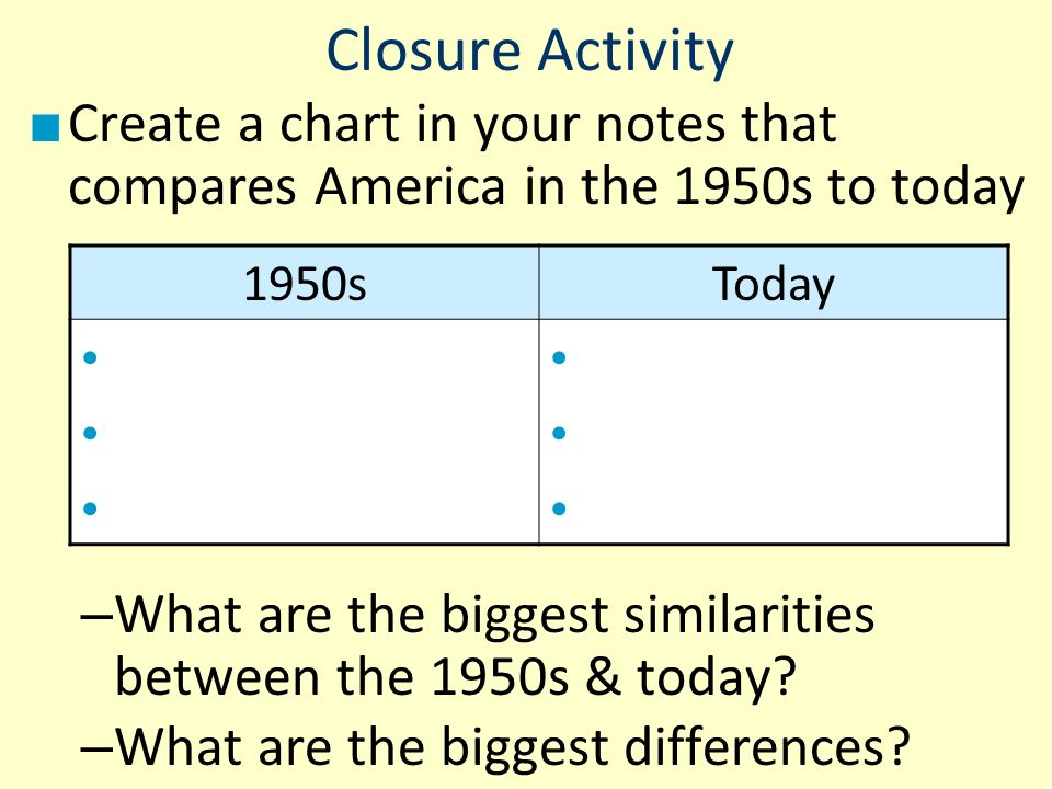 Closure Activity Create a chart in your notes that compares America in the 1950s to today.