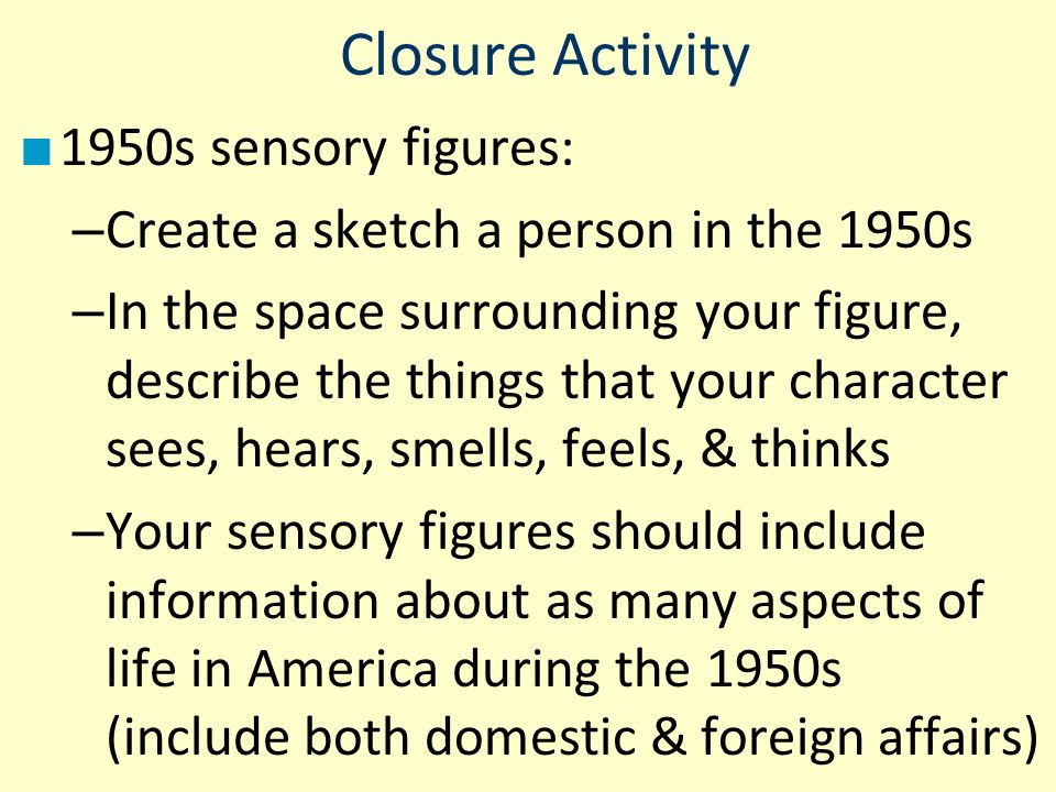 Closure Activity 1950s sensory figures: