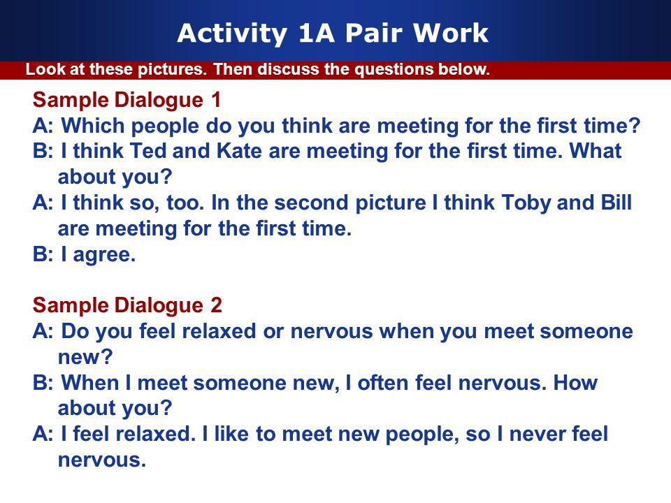Activity 1A Pair Work Sample Dialogue 1