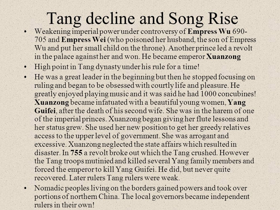 Tang decline and Song Rise
