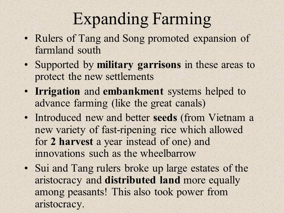 Expanding Farming Rulers of Tang and Song promoted expansion of farmland south.