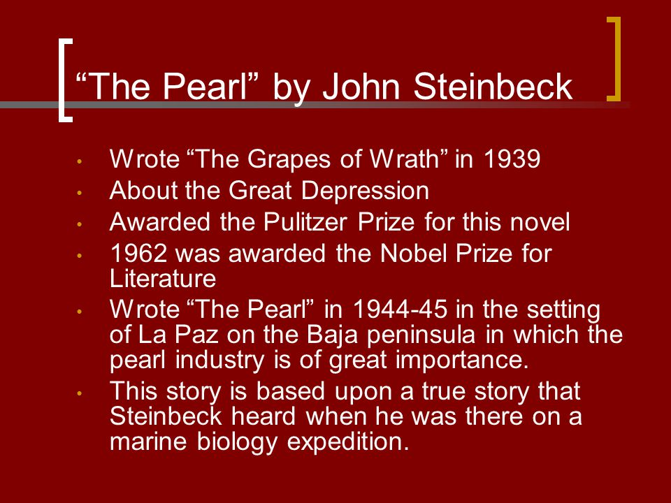 an analysis of bad luck in the pearl by john steinbeck Transcript of music in the pearl by john steinbeck music symbolism in the pearl the songs kino hears are a very important part of the book  the song of the pearl could sound nice or bad, but kino realizes at the pearl is bad luck and the song of the pearl merges with the song of evil.