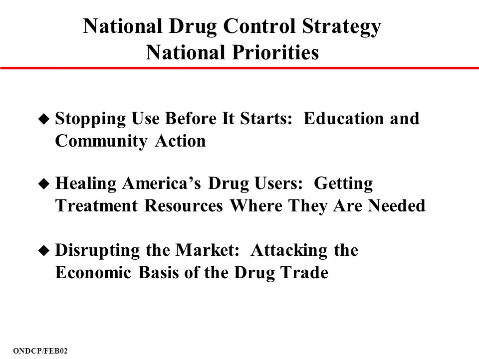 National Drug Control Strategy National Priorities