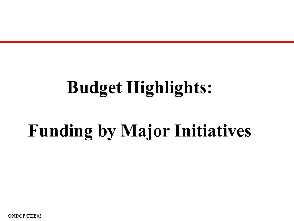 Budget Highlights: Funding by Major Initiatives