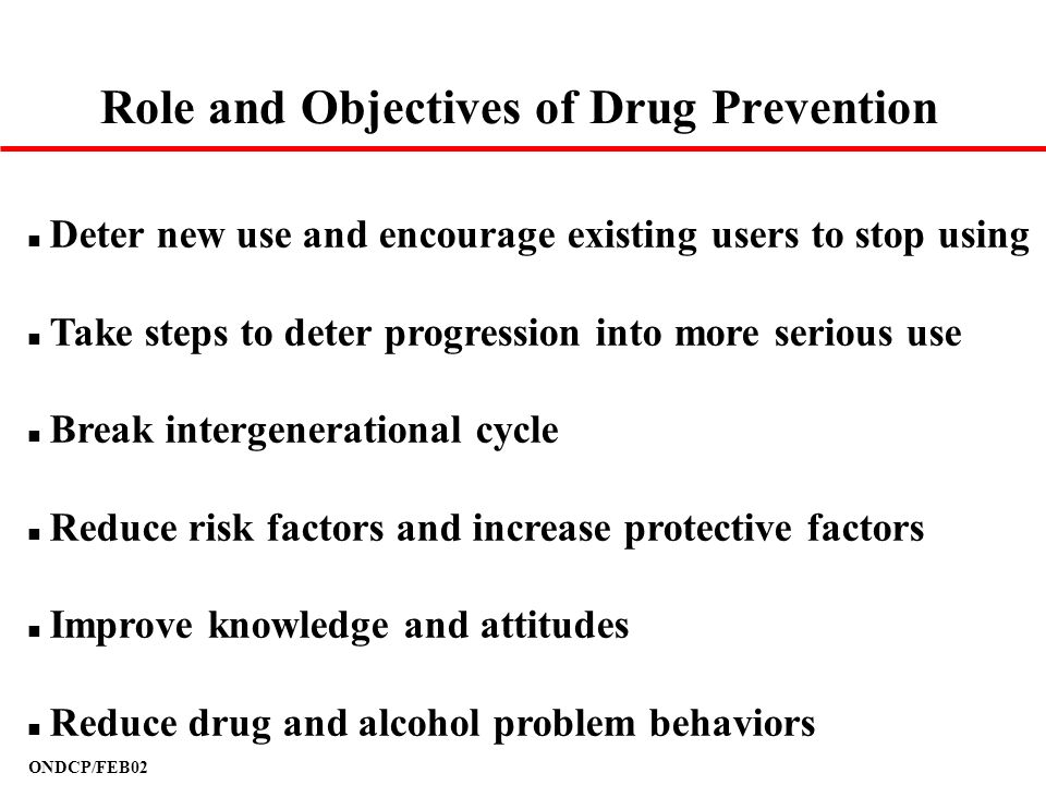 Role and Objectives of Drug Prevention