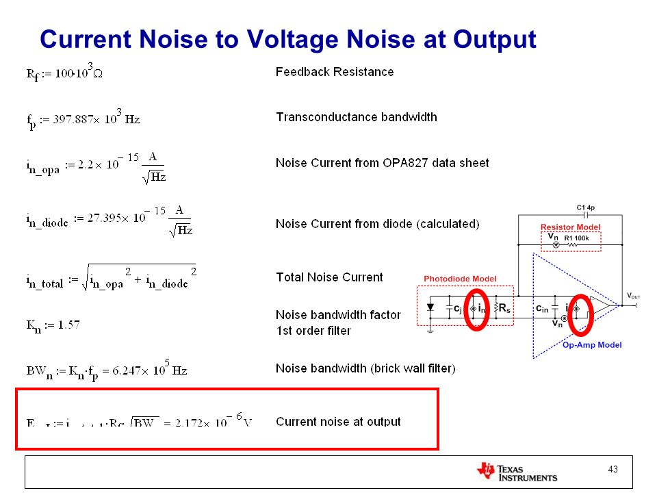 Current Noise to Voltage Noise at Output