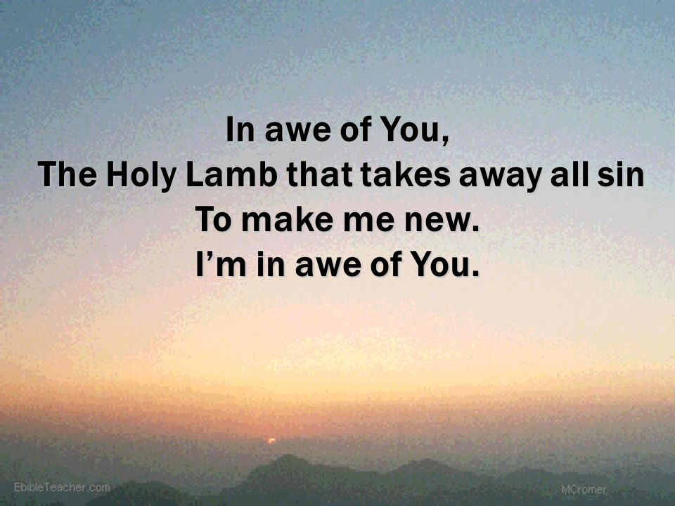 In awe of You, The Holy Lamb that takes away all sin To make me new