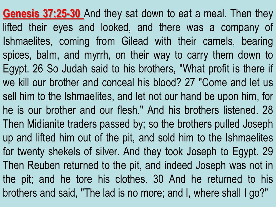 Genesis 37:25-30 And they sat down to eat a meal