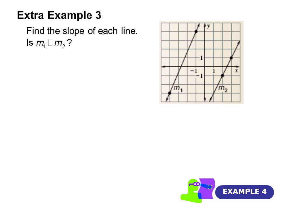Extra Example 3 Find the slope of each line. EXAMPLE 4