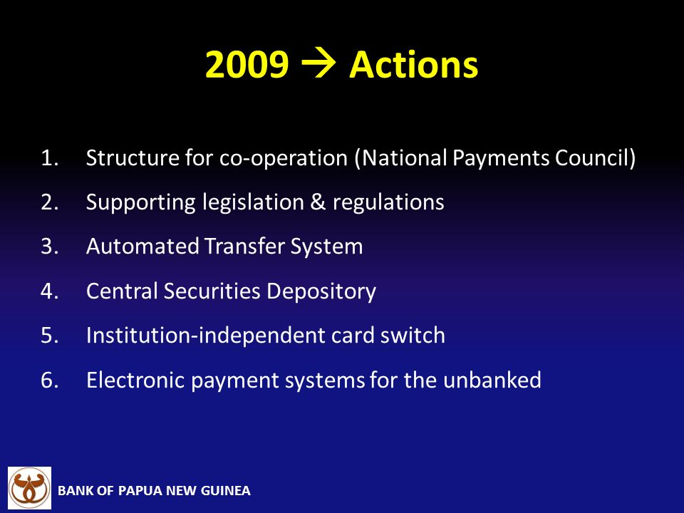 2009  Actions Structure for co-operation (National Payments Council)
