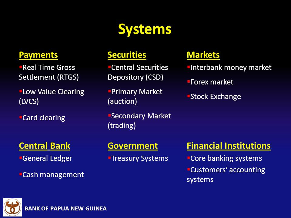 Systems Payments Securities Markets Central Bank Government