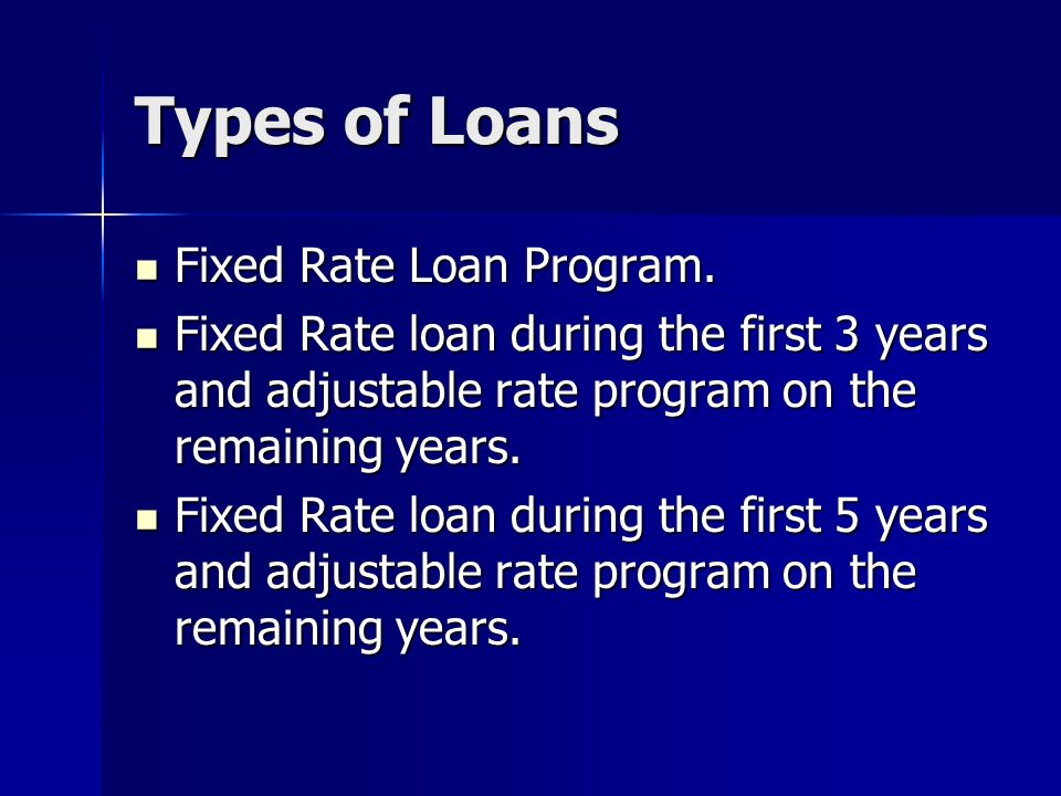 Types of Loans Fixed Rate Loan Program.