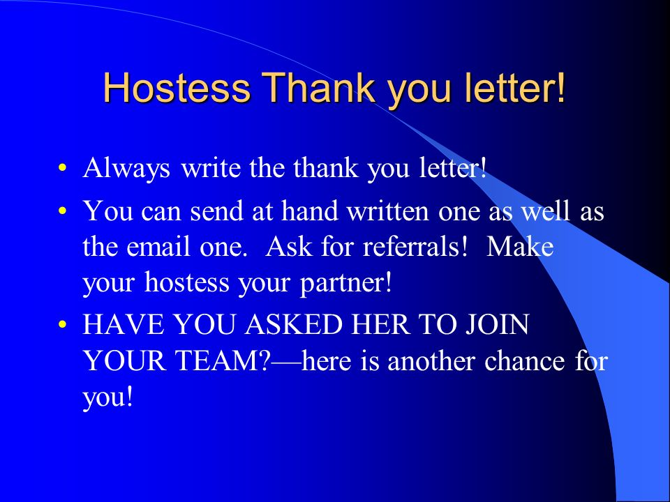 Hostess Thank you letter!