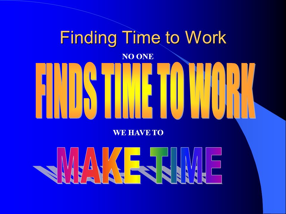 Finding Time to Work NO ONE FINDS TIME TO WORK WE HAVE TO MAKE TIME