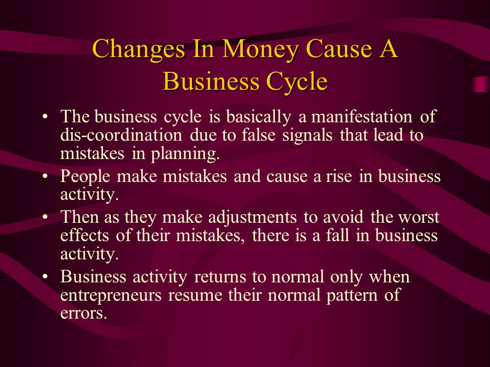 Changes In Money Cause A Business Cycle