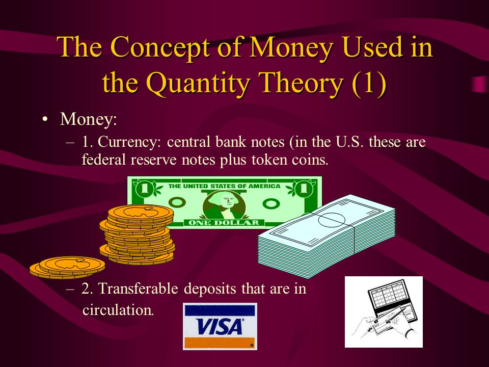 The Concept of Money Used in the Quantity Theory (1)