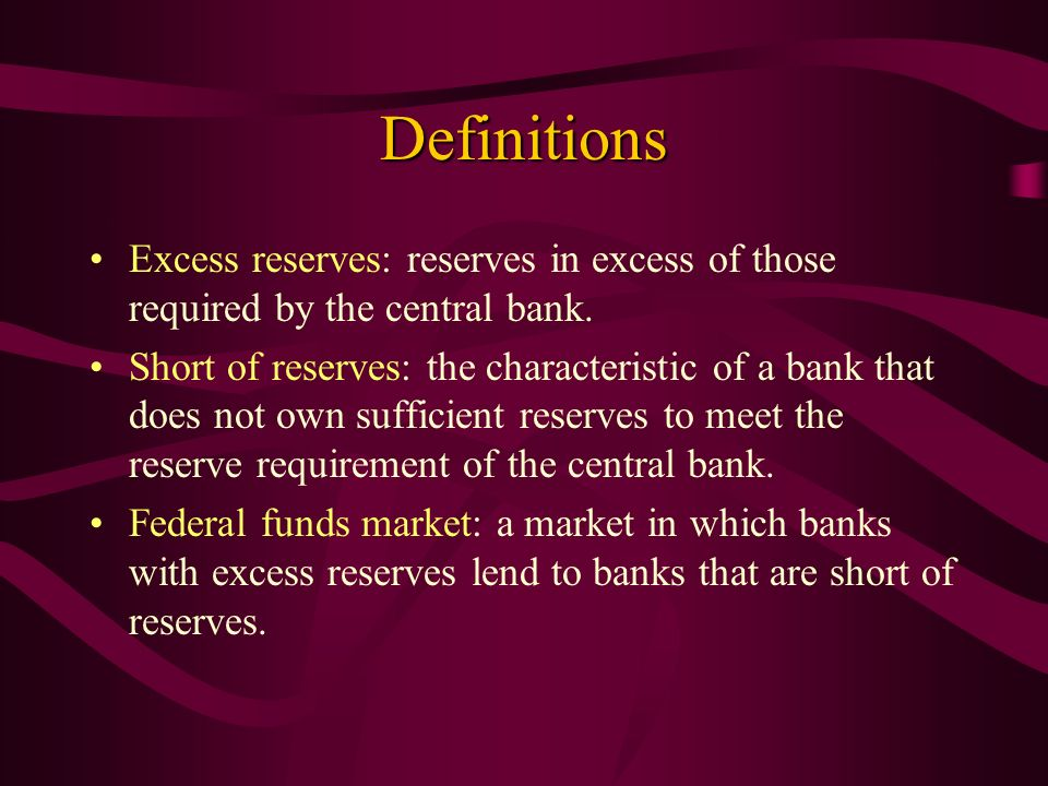 Definitions Excess reserves: reserves in excess of those required by the central bank.