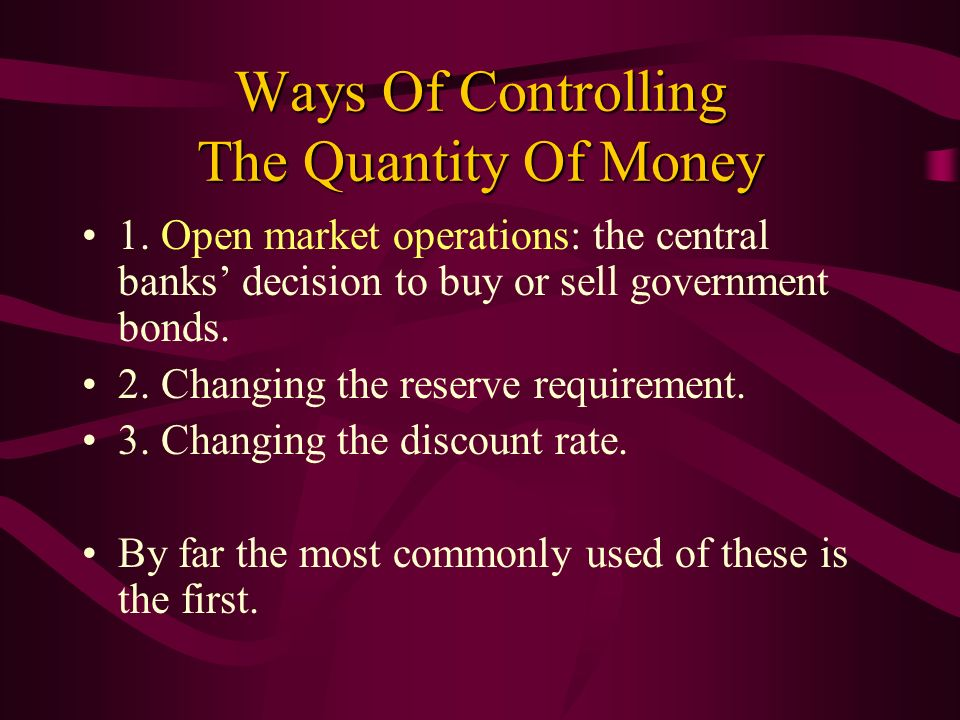 Ways Of Controlling The Quantity Of Money