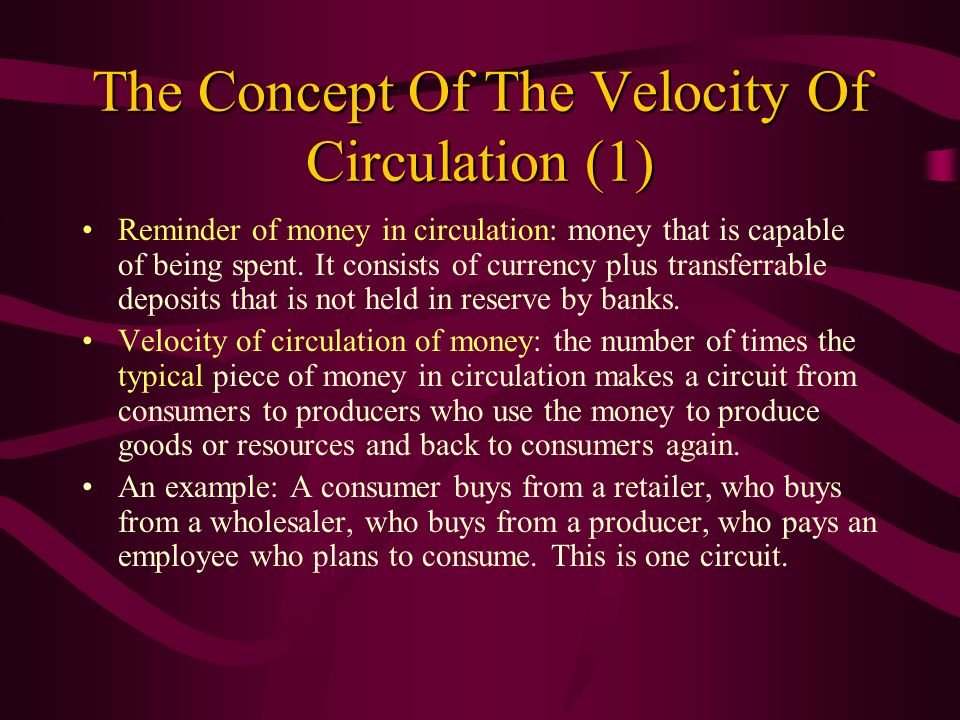 The Concept Of The Velocity Of Circulation (1)