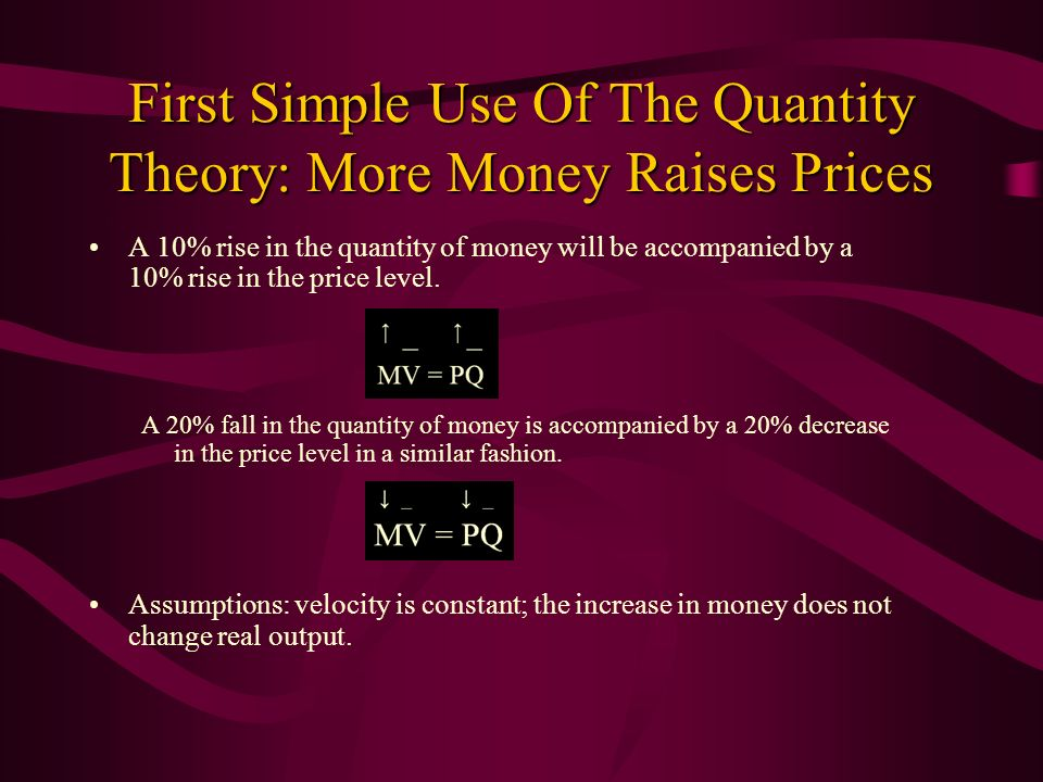 First Simple Use Of The Quantity Theory: More Money Raises Prices