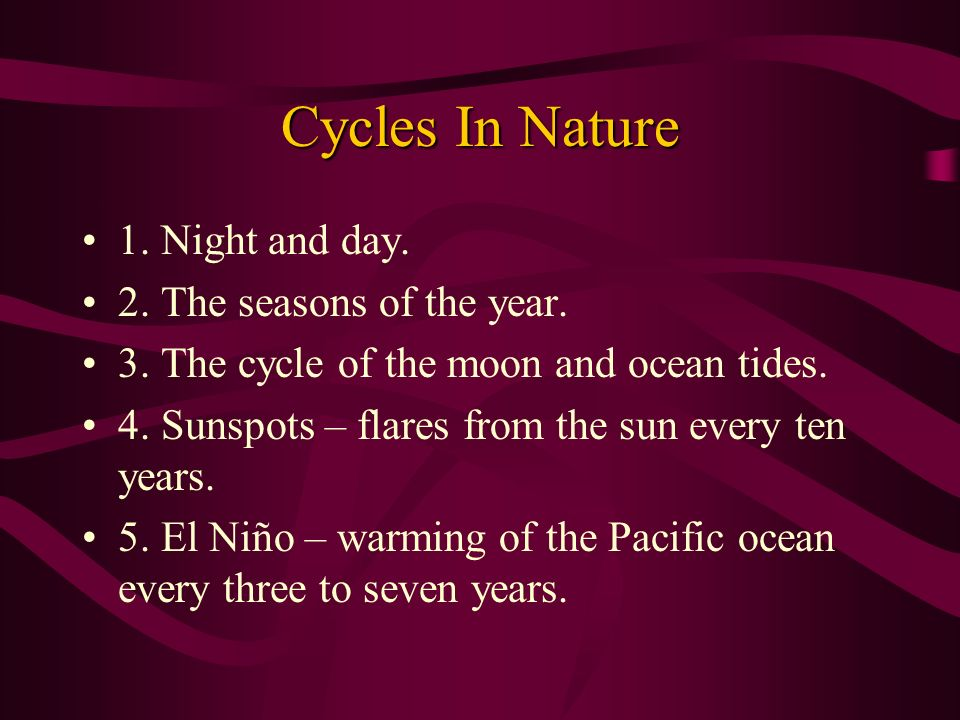 Cycles In Nature 1. Night and day. 2. The seasons of the year.