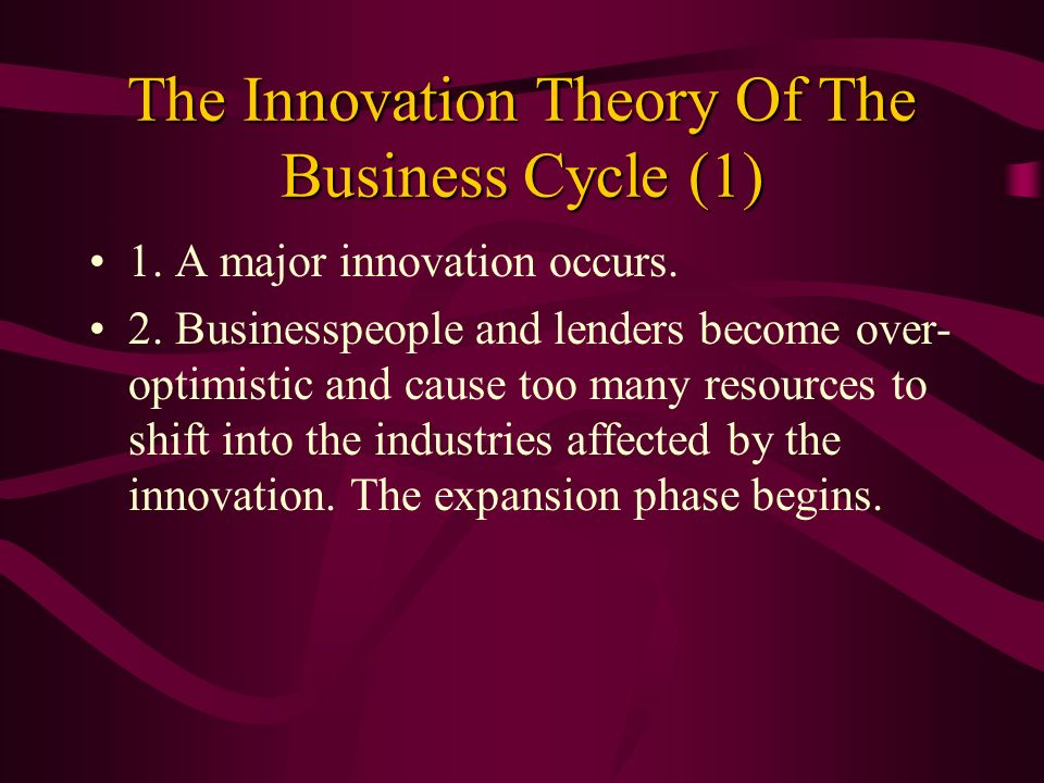 The Innovation Theory Of The Business Cycle (1)