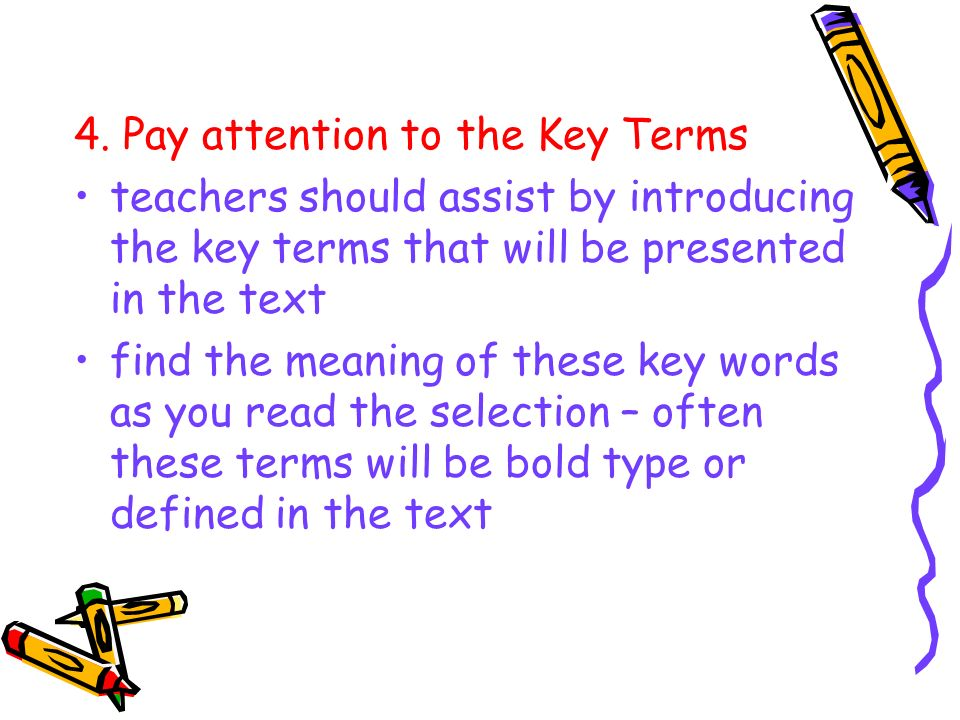 4. Pay attention to the Key Terms