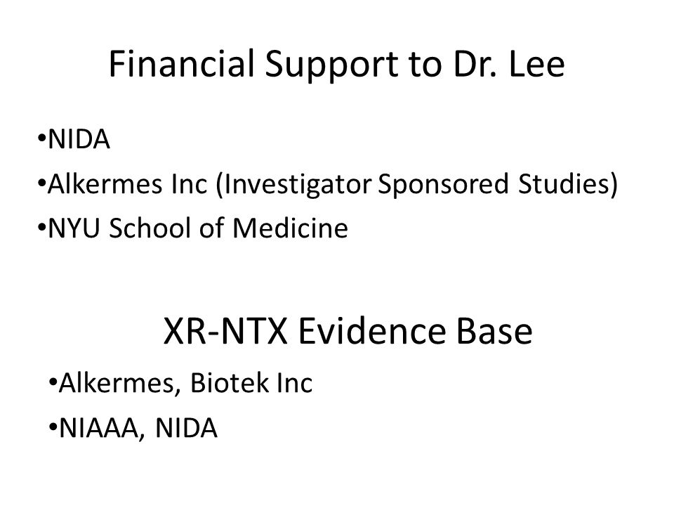 Financial Support to Dr. Lee