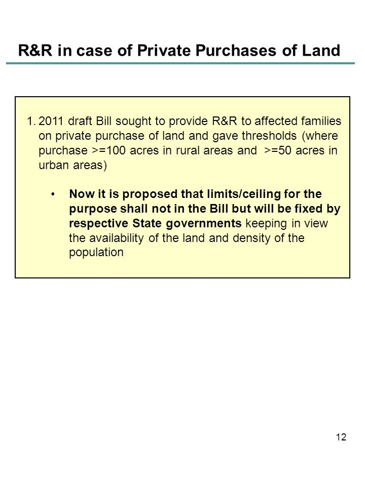 R&R in case of Private Purchases of Land