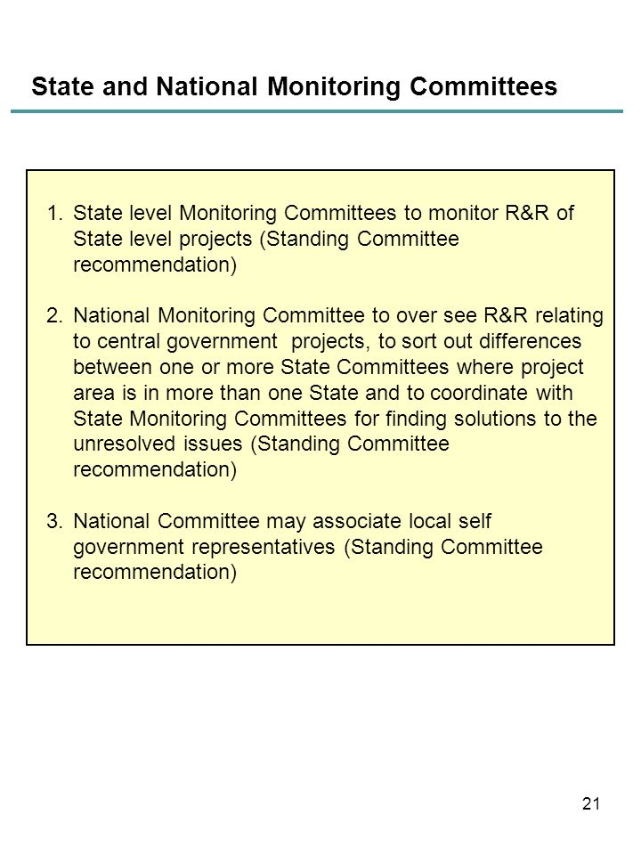 State and National Monitoring Committees
