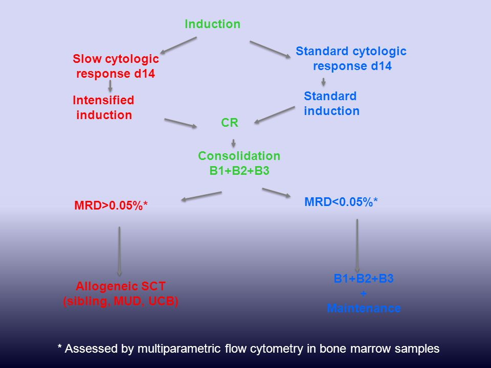 * Assessed by multiparametric flow cytometry in bone marrow samples