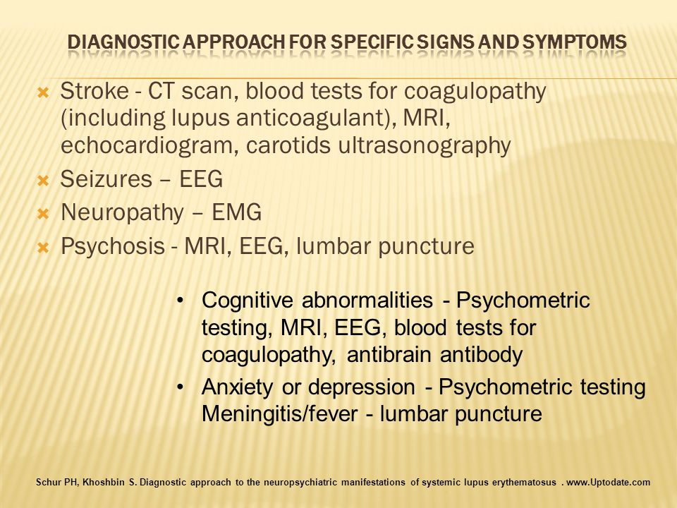 Diagnostic approach for specific signs and symptoms