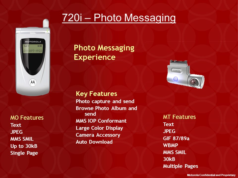 720i – Photo Messaging Photo Messaging Experience Key Features