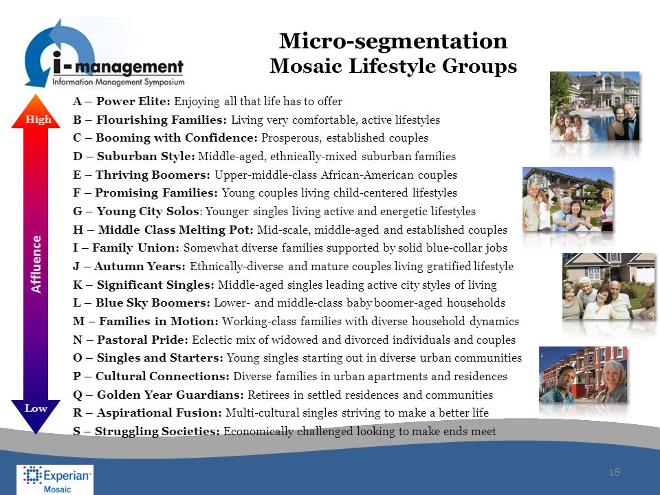 Micro-segmentation Mosaic Lifestyle Groups