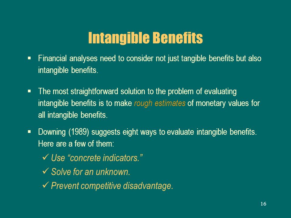 Intangible Benefits Use concrete indicators. Solve for an unknown.