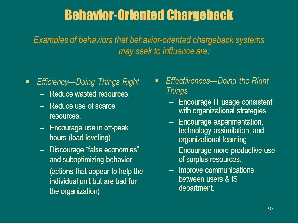 Behavior-Oriented Chargeback