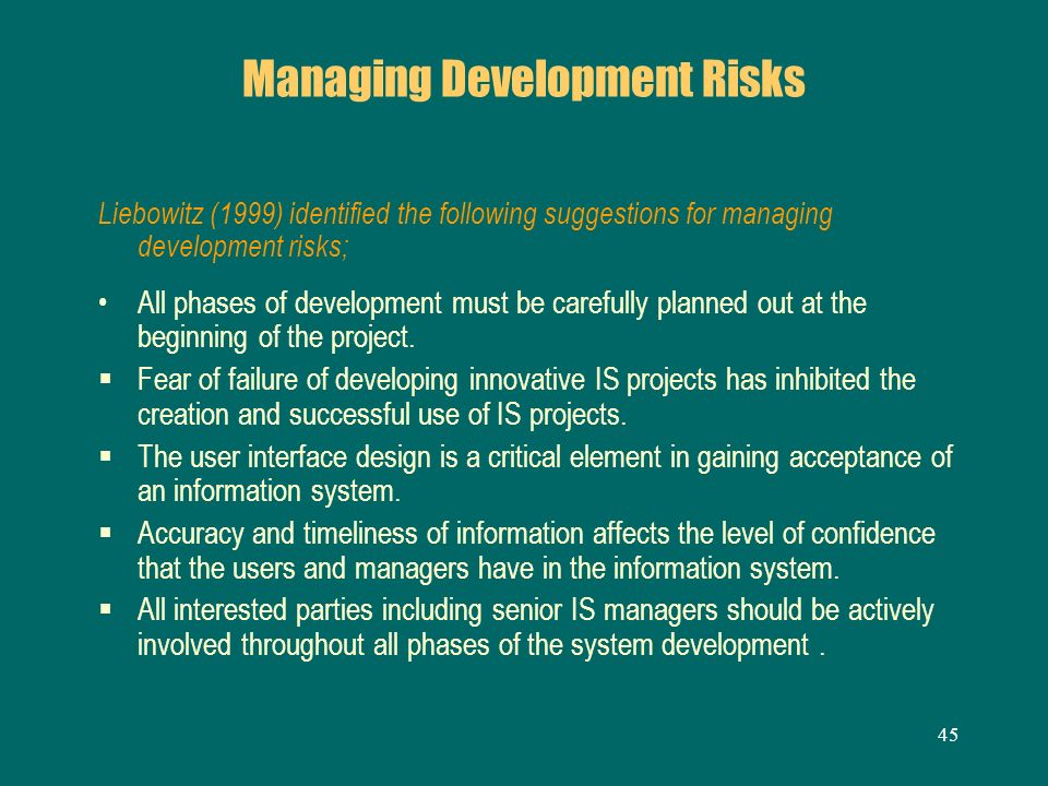 Managing Development Risks