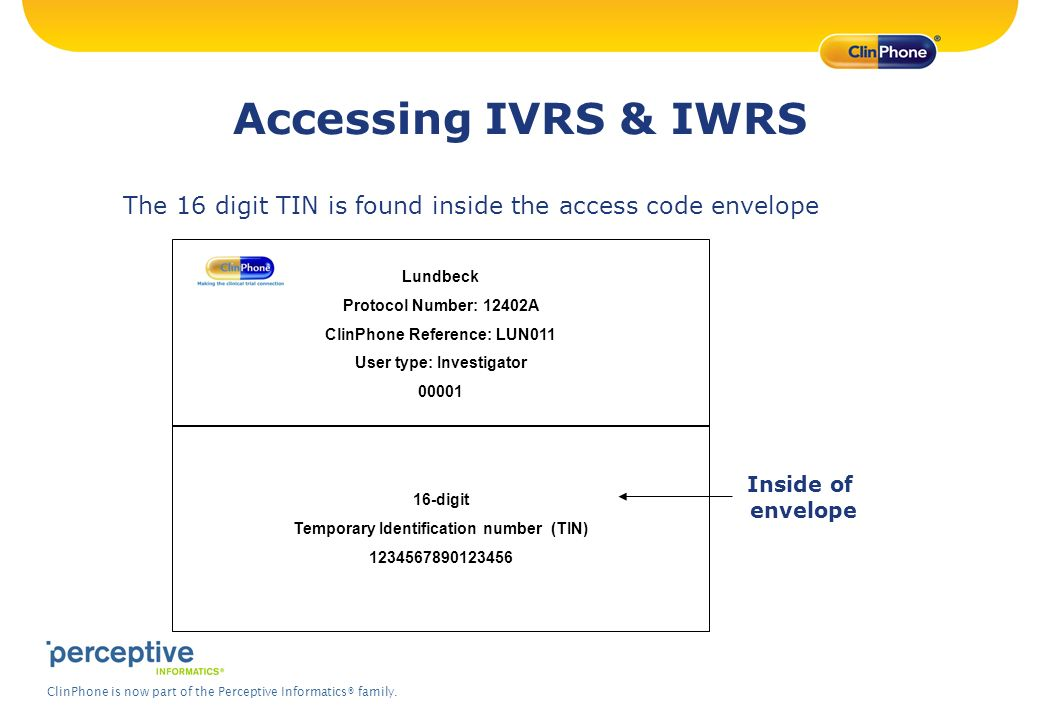 Accessing IVRS & IWRS The 16 digit TIN is found inside the access code envelope. Lundbeck. Protocol Number: 12402A.
