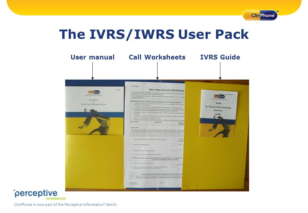 The IVRS/IWRS User Pack