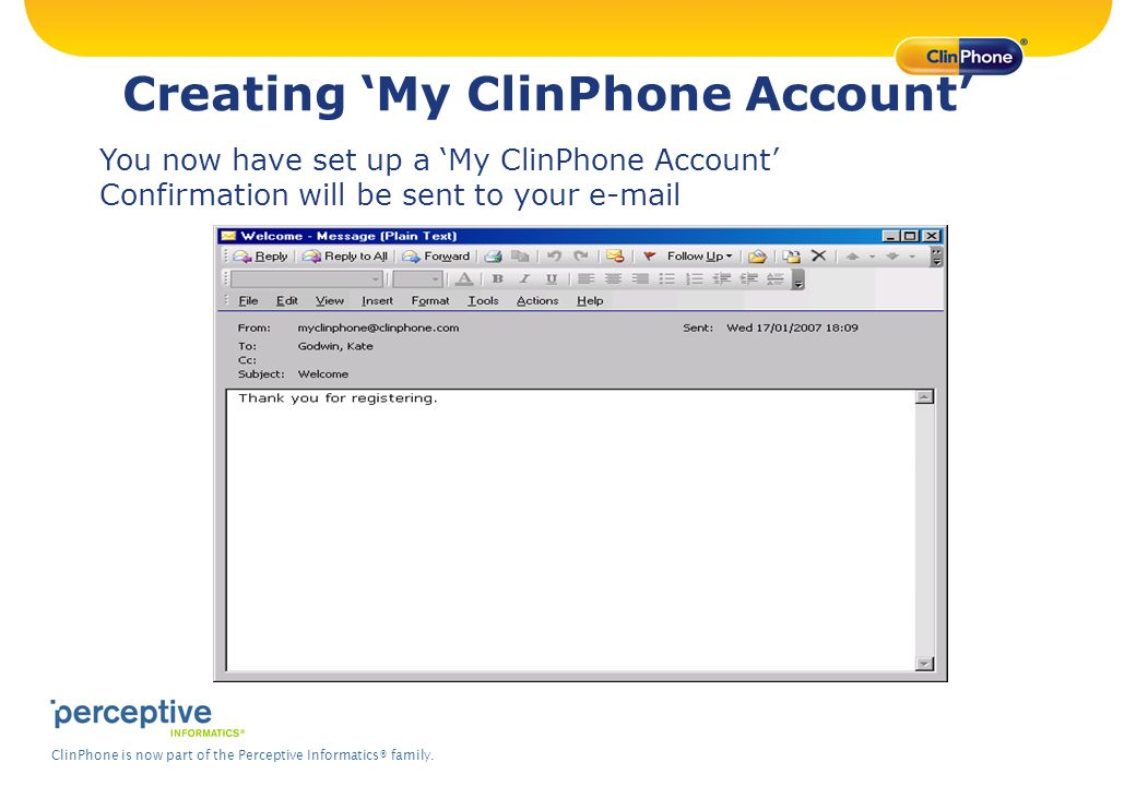 Creating 'My ClinPhone Account'