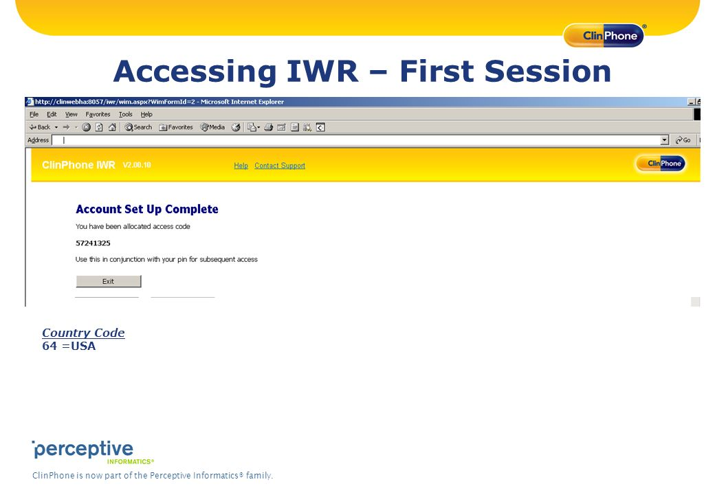 Accessing IWR – First Session