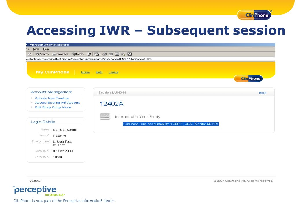Accessing IWR – Subsequent session
