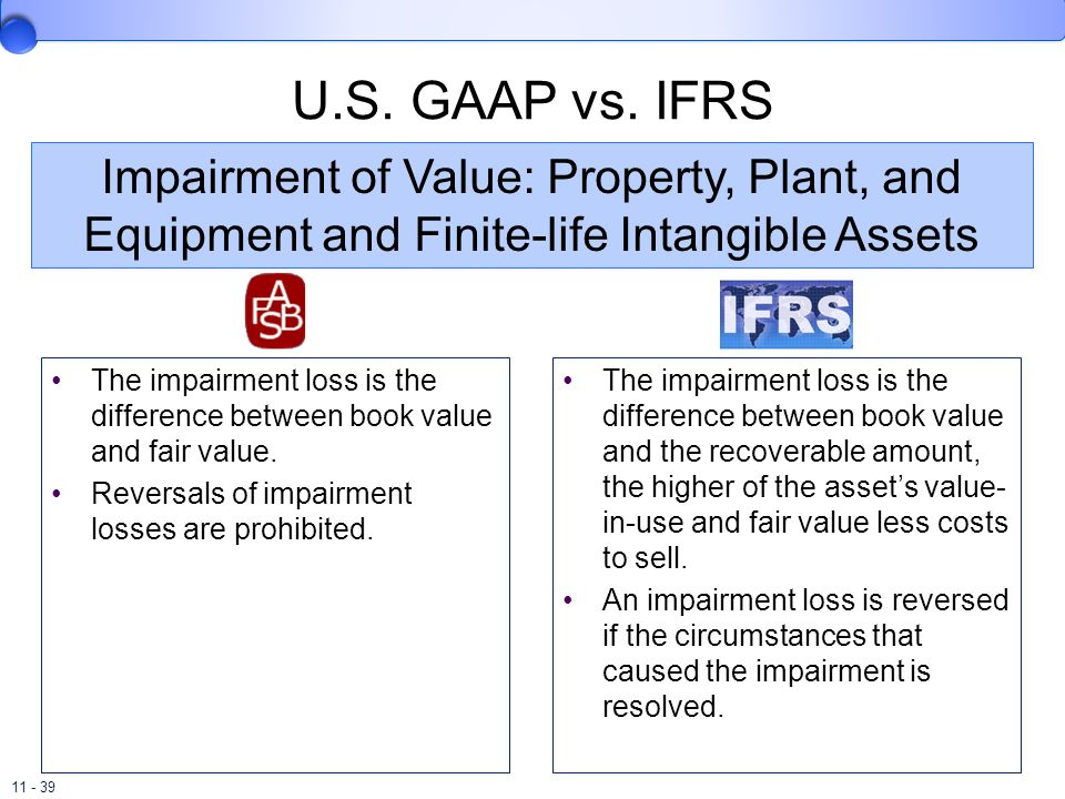 U.S. GAAP vs. IFRS Impairment of Value: Property, Plant, and Equipment and Finite-life Intangible Assets.