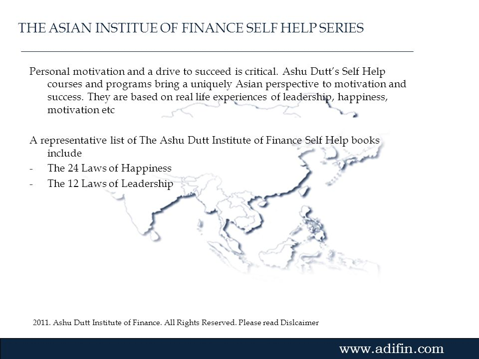 THE ASIAN INSTITUE OF FINANCE SELF HELP SERIES
