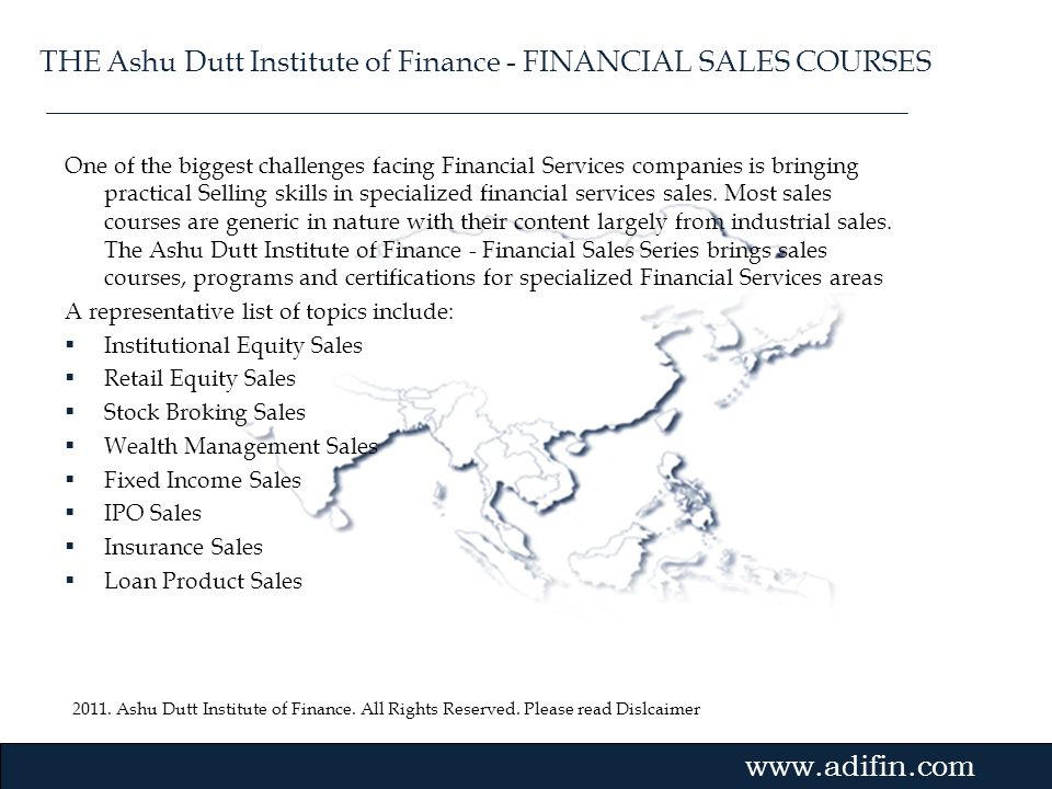 THE Ashu Dutt Institute of Finance - FINANCIAL SALES COURSES