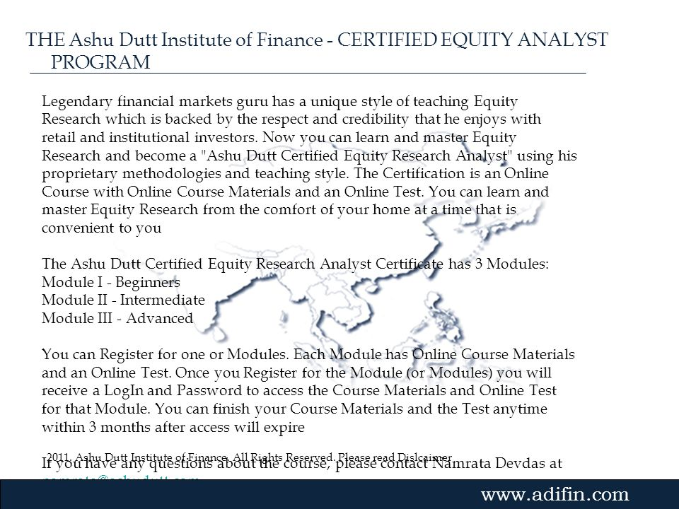 THE Ashu Dutt Institute of Finance - CERTIFIED EQUITY ANALYST PROGRAM