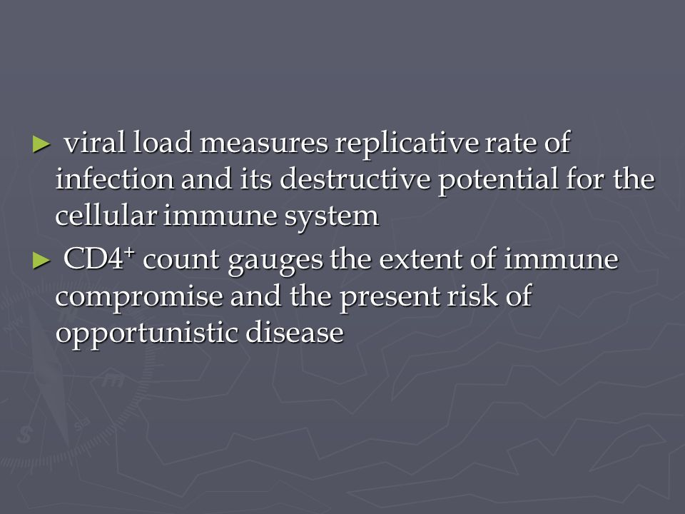 viral load measures replicative rate of infection and its destructive potential for the cellular immune system